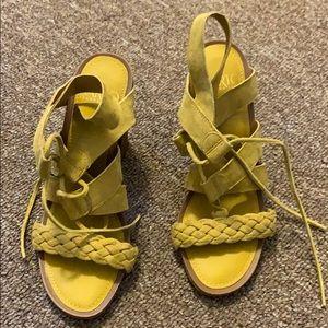 Franco sarto burnt yellow block heels